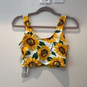NWT American Apparel sunflower Crop Top